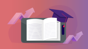 Book with a graduation cap on it